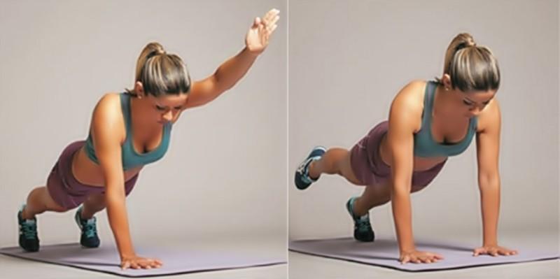 Exercícios para emagrecer e perder barriga Prancha-frontal-alternando-os-braços-
